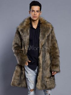 d20966ed354 Brown Faux Fur Coat Men Overcoat Turndown Collar Long Sleeve Winter Coat