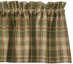 Sage Valance, by Park Designs. A soft plaid of sage green, with pale yellow cream, mustard, and rustic red. This is for the valance. Measures 14 x 72 inches, with a 1.5 inch header and 2 inch rod pocket. Lined. 100% cotton. Matching placemats and other linens also available!