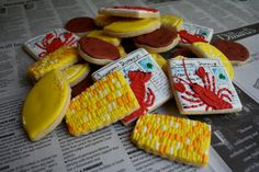 Items similar to Crawfish Boil Crab Boil Cookies 1 dozen on Etsy Fancy Cookies, Cute Cookies, Cupcake Cookies, Sugar Cookies, Cupcakes, Lobster Boil, Seafood Boil, Fish Boil, Crab Boil Party