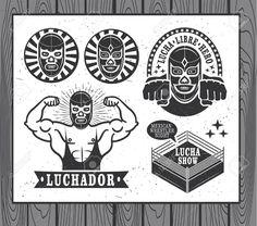 38946574-Mexican-wrestler-set-Lucha-Libre-Stock-Vector-wrestling.jpg (1300×1147)