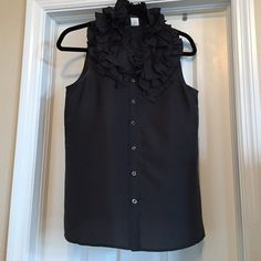 Jcrew Blouse Charcoal Grey Jcrew top. Looks great at the office or with jeans as well. 100% silk. NWOT- never worn J. Crew Tops Blouses