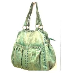 ANTHRO  BEAUTIFUL  leather bag price for 2day only Much loved and used beautiful distressed soft leather green bag with blue stitching. Pretty lining and lots of pockets.  Got lots of compliments on it whenever used it.  Feel free to make an offer. Anthropologie Bags Totes