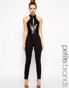 cdf1522f5e84 Lipstick Boutique Petite Halter Neck Jumpsuit With Sequin Detail Petite  Jumpsuit