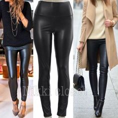 """Sexy Faux Leather high waist leggings New Vegan Sexy Vegan Faux leather leggings. Perfect fit  High waist Medium weight Lightly soft Fleece-lined Very Stretchy Fabric 65% Polyester,35% Cotton Measurements (Inseam = 27-28"""") (Total Length= 38-39"""") (Front Rise = 12"""") (Back Rise =14"""") (Small Waist =11-13"""") (Medium Waist =12-14"""") (LargeWaist =13-15"""") (XL Waist =14- 16 """" ) *Price is firm unless bundled. ALSO AVAILABLE IN  (Navy blue, Black, Gray) SIZES(S,M,L,XL) boutique Pants Leggings"""