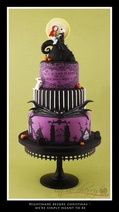 Nightmare cake! Oh. My. Gosh. ... If I wanted my wedding to be darkish or like the movie, I would most definitely pick this as the wedding cake :3 Love how they put the quote on it <3