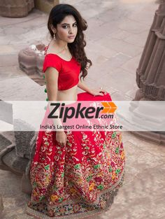 6d2b4ee57ac57 Banglori Silk Embroidered Semi-Stitched Lehenga Choli Material (Red)