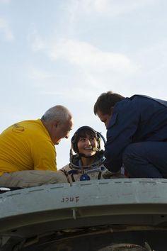 "Out of the Soyuz: felt 500-ton heavy & my internal ""gyroscopes"" definitely needed some recalibration! #JourneyBack"