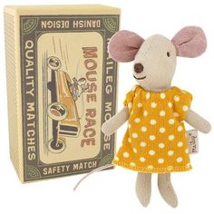 Maileg Little Sister Mouse in a Box, Polka Dot Dress