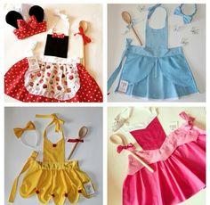 Delantal niña Dress Up Aprons, Dress Up Outfits, Kids Outfits, Disney Princess Aprons, Disney Aprons, Sewing Aprons, Sewing Clothes, Diy Clothes, Sewing For Kids