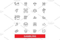 Gambling, casino,poker, roulette, slot machine, gaming,entertainment, Las Vegas line icons. Editable strokes. Flat design vector illustration symbol concept. Linear signs isolated on white background. Icons