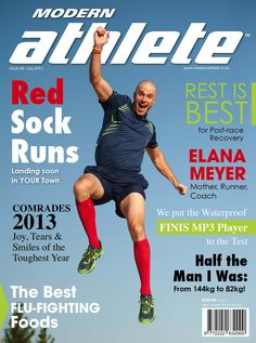 shoOops makes it on the cover in South Africa! Cool Socks, The Man, South Africa, Meant To Be, Good Things, Running, Gallery, Cover, Keep Running