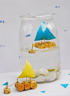 DIY Cork Sailboat In A Jar - a fun twist on the ship in a bottle for kids! manualidades faciles DIY Cork Sailboat In A Jar ⋆ Handmade Charlotte Kids Crafts, Summer Crafts, Projects For Kids, Diy For Kids, Craft Projects, Simple Projects, Project Ideas, Craft Kids, Boat In A Bottle