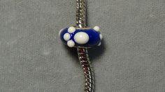European charm bead blue white paws glass big hole bead sterling silver 204