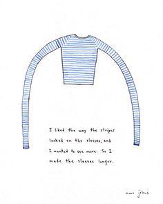 I made the sleeves longer: I like stripes too!