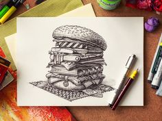 Dribbble - Hamburger by Mike Book Drawing, Zen Doodle, Beautiful Drawings, Illustrations And Posters, Ink Art, Graphic Illustration, Art Lessons, Sketches, Creative