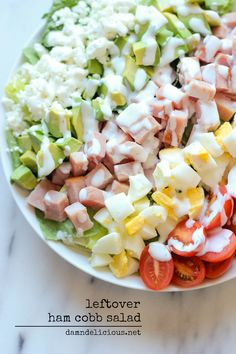 Leftover Thanksgiving Ham Cobb Salad - Use up your leftover ham in this glorious cobb salad with a guiltless Greek yogurt ranch dressing! It's the perfect post-Thanksgiving detox!