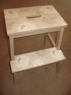 My pretty Ikea step stool! Just painted with undercoat and left over paint then wallpaper & our new step stools   Stools Ikea hack and Ikea bekvam islam-shia.org