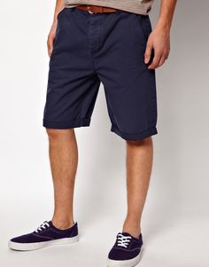 $33, Navy Shorts: Asos Chino Shorts In Longer Length. Sold by Asos. Click for more info: https://lookastic.com/men/shop_items/56494/redirect