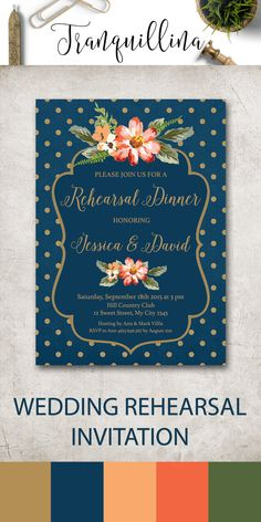 Floral Wedding Rehearsal Dinner Invitation Printable, Gold & Blue Wedding Rehearsal Invitation, Navy Rehearsal Invitation, Navy Gold Wedding Ideas, Gold Polka Dots Invitation. For more wedding invitations check the following link: tranquillina.etsy.com