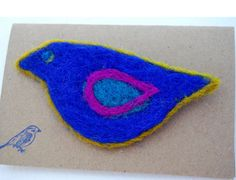 Needle Felted Wool Blue Bird Pin Brooch