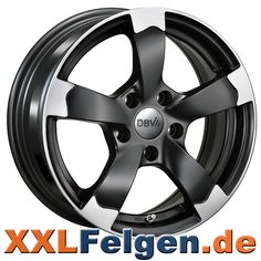 DBV Torino II schwarz matt polierte Alufelgen in 15, 16, 17, 18, 19 Zoll