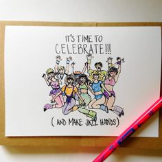 Funny Birthday Card It's Time To Celebrate And Make Jazz Hands by WellOwlBee.com $4.00  #jazzhands #funny #cards #wellowlbee #etsy #homespunsociety #greetingcards #etsyfest #etsy #80s #eighties #aerobics #jazzercise #legwarmers