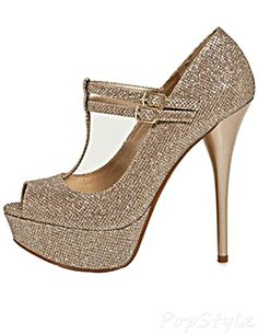 Qupid Neutral-443 High Heel Glitter Pump