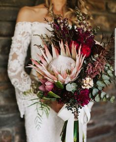 blush and burgundy bouquet with giant king protea Best of bouquets. blush and burgundy bouquet with giant king protea Wedding Flower Guide, Fall Wedding Flowers, Bridal Flowers, Floral Wedding, Wedding Colors, Winter Wedding Boquet, Wedding Flower Bouquets, Wedding Floral Arrangements, Wedding Ideas