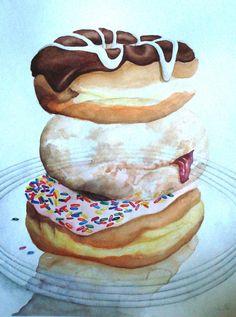 Doughy Dazeby Sweets Art, Ice Cream Art, Rare Steak, Food Artists, Sweet Cupcakes, Recipe Images, Fruit And Veg, Food Illustrations, Cake Art