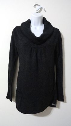BCBG Max Azria Grey Black Cowl Neck Sweater Top Shirt Blouse Large L #BCBGMAXAZRIA #CowlNeck