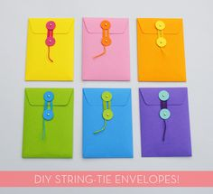 #DIY string-tie envelopes -- super easy and you can have a lot of fun with the color combos!