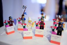 Lego escort 'cards', lego figure centerpieces and a lego cake & cake topper! An intimate VA wedding with a ton of FUN lego details! Wedding Favours, Wedding Themes, Wedding Ideas, Themed Weddings, Wedding Images, Wedding Events, Wedding Dresses, Rustic Wedding Centerpieces, Wedding Decorations