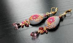 Long Dangly Garnet and Tundra sapphire earrings - goldfill and copper - Spring Sprays via Etsy