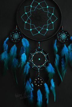 Dream catcher Large Dreamcatcher Boho style Amulet Black Turquoise Light blue red purple green color Home Decor Native American Ethnic style Grand Dream Catcher, Dream Catcher Decor, Black Dream Catcher, Large Dream Catcher, Beautiful Dream Catchers, Diy Tumblr, Dreamcatcher Wallpaper, Dream Catcher Native American, Rooster Feathers