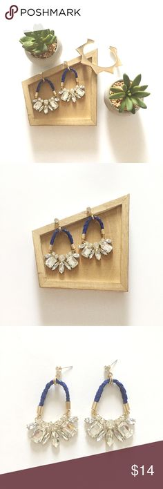 "Braided Cord Crystal Drop Earrings Crystal drop earrings with blue braided cords. 3"" long. Jewelry Earrings"
