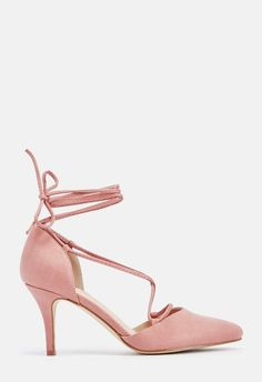 b11930ff3e9 JustFab shoes · Fall for these feminine pumps with a lace up accent and  smooth faux suede design.