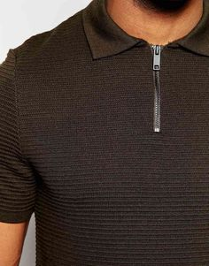 Image 3 of River Island Knitted Polo Shirt With Zip Neck