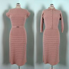 Vintage 1950s Sweater Dress 50s Wool Knit by TravelingCarousel Women's vintage fall fashion