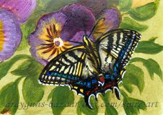 ACEO TW JUL Original art bugs butterfly flowers miniature painting-SMcNeill #ebay #aceo #insects #butterfly