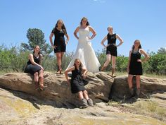 Bridesmaid dress's: Have the girls choose their own dress in black...black is black! It looked great!