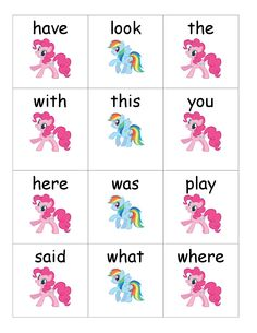 FREE! My Little Pony Sight Word Game from I'm Not Your Grandpa, I'm Your Teacher.