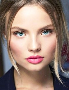 pretty pink makeup ideas --- Pink Lips and Pink Checks