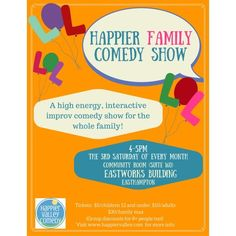 A Family Friendly Improv Comedy Show! Shows are the 3rd Saturday of every month. Be sure to check them out!