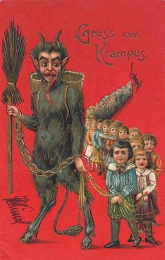 WOW, Krampus really has a thirst for children's blood! | 21 Vintage Postcards Of Krampus That Will Haunt Your Dreams