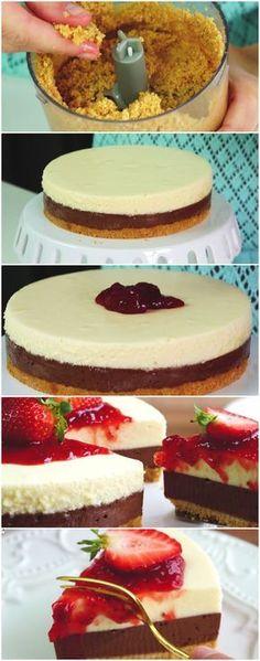 Torta mousse de chocolate com morangos #torta #tortamousse#comida #culinaria #gastromina #receita #receitas #receitafacil #chef #receitasfaceis #receitasrapidas