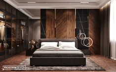 Master bedroom II on Behance Bedroom False Ceiling Design, Luxury Bedroom Design, Bedroom Bed Design, Modern Home Interior Design, Modern Bedroom, Temple Design For Home, Living Room Pictures, Apartment Interior, Luxurious Bedrooms