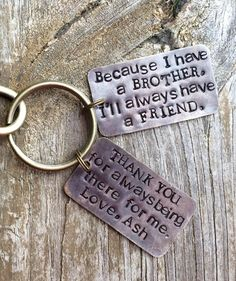 Key Chain For BrotherGift BrotherBrother Of The BrideHandstamped PersonalizedBrotherly LoveGift Brother By SisterGot KeysBro