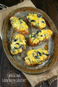 Authentic Suburban Gourmet: Cheddar and Green Onion Crostini   Friday Night Bites