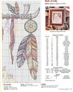 Borduurpatroon Kruissteek Dromenvanger *Embroidery Cross Stitch Pattern Dreamcatcher