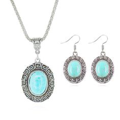Tibetan Silver Plated Turquoise Round Shaped Earring and Necklace Jewelry Set